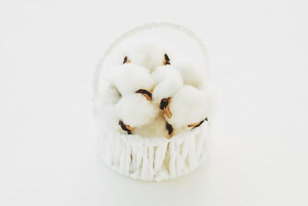 Flores de algodão em uma cesta
