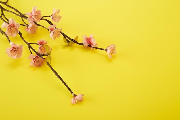 Flores de ameixa em fundo amarelo