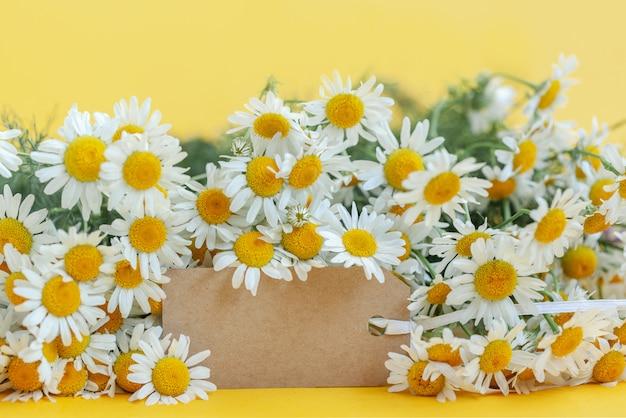 Flores de camomila com tag vazia em amarelo
