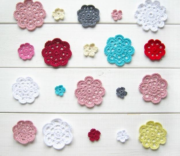 Flores de fio de crochê