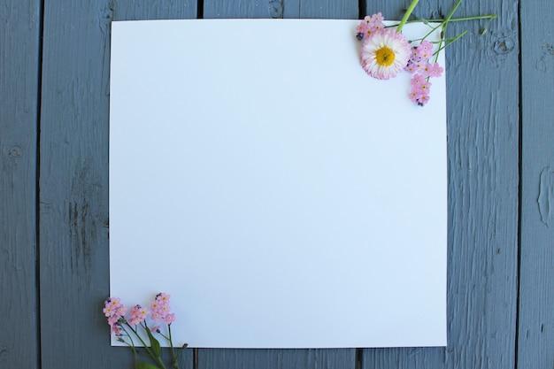 Flores de fundo em papel branco