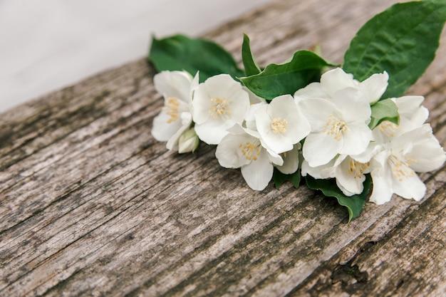 Flores de jasmim rústicas na velha mesa de madeira.