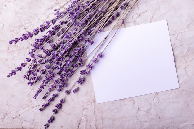 Flores de lavanda e papel em branco no fundo do papel velho. copie o espaço. tonificação