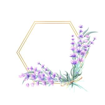 Flores de lavanda em uma moldura de ouro poligonal