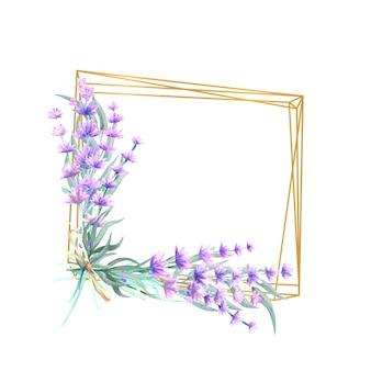 Flores de lavanda em uma moldura quadrada de ouro
