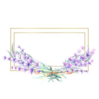 Flores de lavanda em uma moldura retangular de ouro