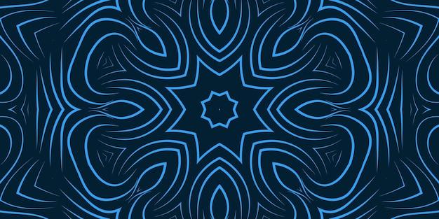 Flores de linha encaracolada abstrata de cor azul. formas curvas de papel de parede com padrão de cor brilhante