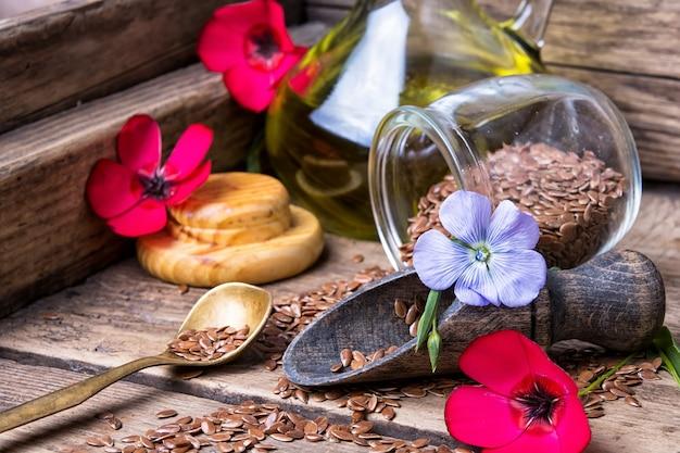 Flores de linho e linhaça