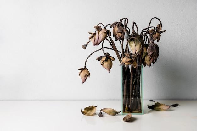Flores de lótus murchas em um vaso de vidro na mesa