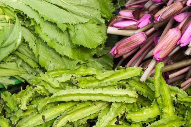Flores de lótus roxas e uma salada verde