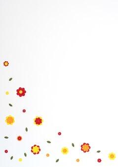 Flores de papel laranja amarelo vermelho brilhante em fundo branco