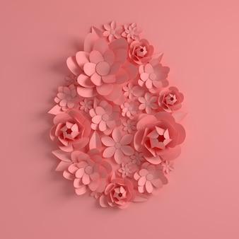 Flores de papel rosa, formato de ovo de páscoa