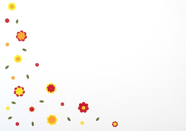 Flores de papel vermelho, amarelo e laranja brilhantes em fundo branco. primavera, conceito de verão. estilo liso leigo com espaço de cópia. arte em papel