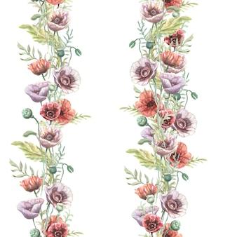 Flores de papoulas vermelhas roxas flores silvestres desenhadas à mão em aquarela