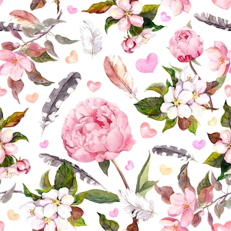 Flores de peônia, sakura, penas. vintage sem costura padrão floral. aguarela