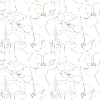 Flores de prado padrão sem emenda flores de verão lápis flores esboçadas padrão de campo de flores de papoula