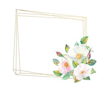 Flores de rosa branca, frutas vermelhas, folhas verdes, a composição em uma moldura dourada geométrica