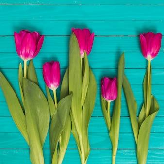 Flores de tulipa rosa com folhas verdes na mesa de madeira