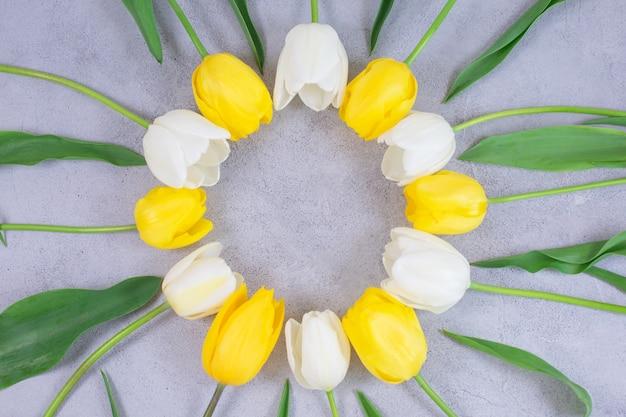 Flores de tulipas brancas e amarelas circundam o quadro na superfície cinza