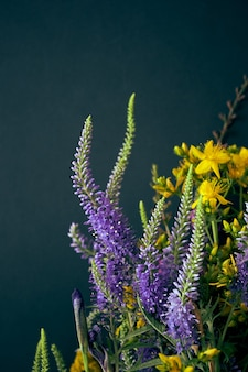 Flores de verão em um fundo escuro.