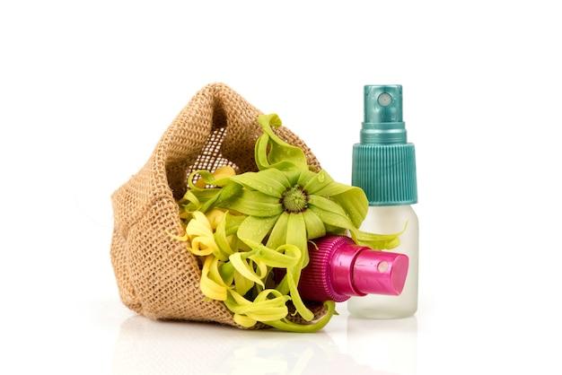 Flores e extrato de ylang ylang ou cananga odorata isolados no fundo branco.