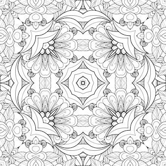 Flores e folhas coloridas com padrão preto e branco