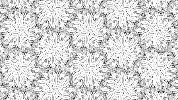 Flores e folhas de coloração padrão preto e branco. livro de colorir de planta de papel de fundo geométrico bonito