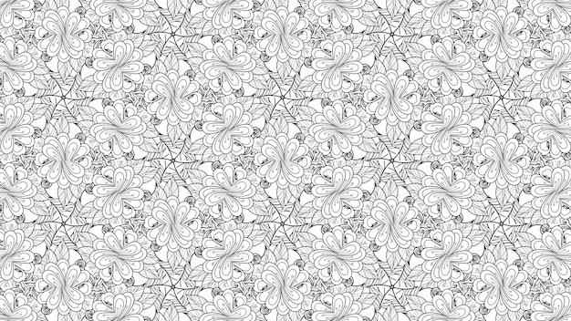 Flores e folhas de coloração padrão preto e branco. planta de papel de fundo geométrico bonito