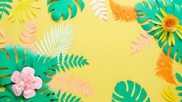 Flores e folhas na decoração de estilo de papel