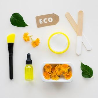 Flores e óleos cosméticos naturais para spa