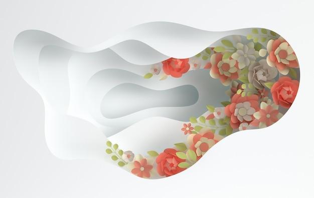 Flores elegantes de papel e camadas de buracos de papel
