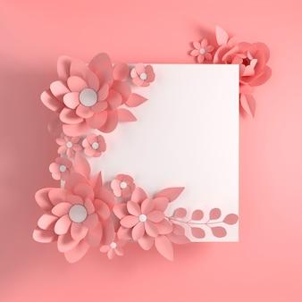 Flores elegantes de papel rosa pastel em fundo rosa
