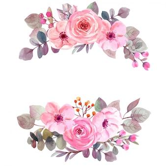 Flores em aquarela com espaço de cópia