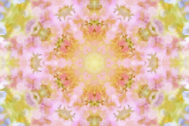 Flores em aquarela desfocadas, fundo floral de primavera, ilustração de repetição de simetria de flores de primavera, fundo floral brilhante
