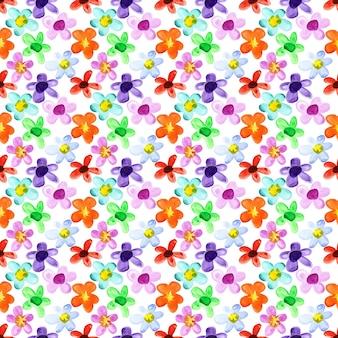 Flores em aquarela - padrão floral sem costura multicolorido