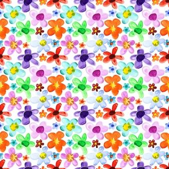 Flores em aquarela - plano de fundo sem emenda multicolorido