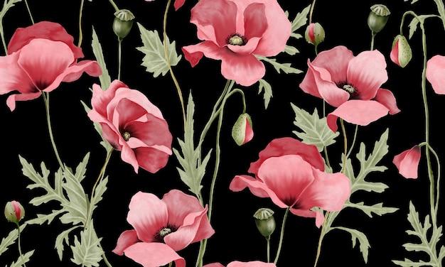 Flores em aquarela rosa pastel com padrão de folhas verdes isoladas em fundo preto