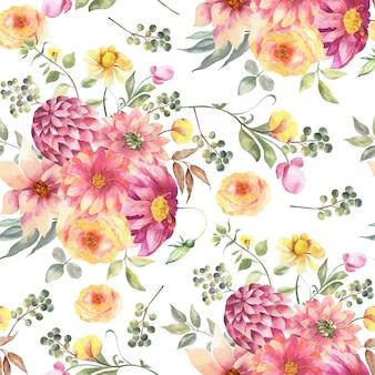 Flores em aquarela sem costura padrão wihte.