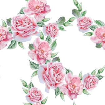 Flores em aquarela sobre fundo branco