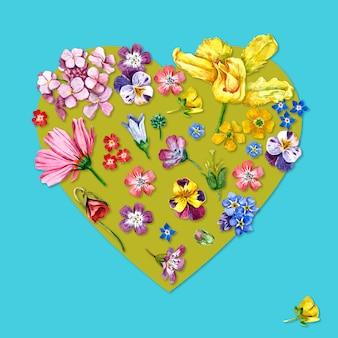 Flores em forma de coração em aquarela