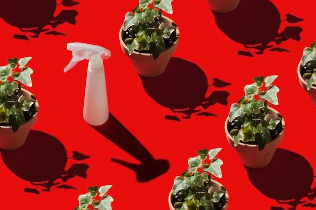 Flores em vasos e um pulverizador sobre um fundo vermelho