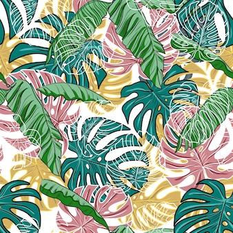 Flores folhas padrão sem emenda motivo floral estilo popular ilustração desenhada à mão florescendo primavera impressão têxtil vintage