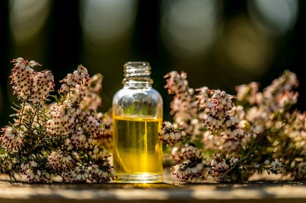 Flores frescas, frascos de óleo essencial diferentes no fundo do bokeh. cuidados de saúde alternativos de conceito. conceito de aromaterapia.