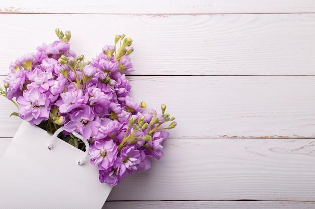 Flores lilás matthiola