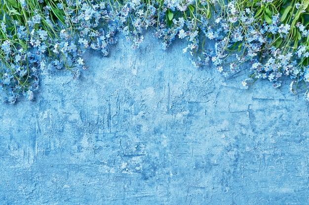 Flores miosótis azuis sobre fundo azul brilhante