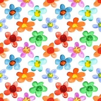 Flores multicoloridas em aquarela - fundo transparente