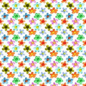 Flores multicoloridas em aquarela - padrão floral sem emenda