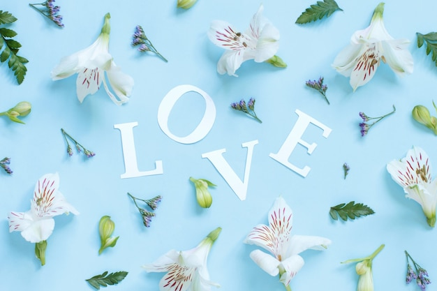 Flores, pétalas e a palavra amor em uma vista superior de fundo azul claro