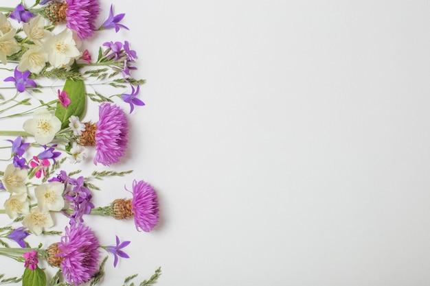 Flores roxas de verão na superfície branca