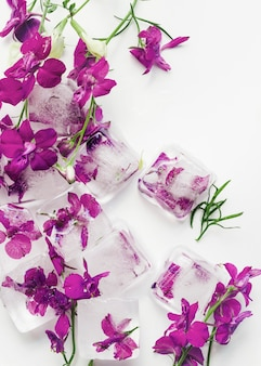 Flores roxas em cubos de gelo